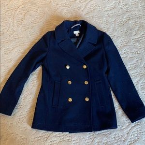Navy J crew pea coat! Never worn